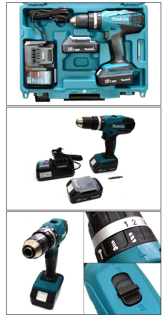 Perceuse visseuse à percussion Makita HP457DWE