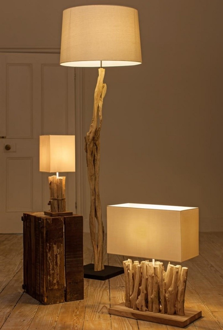 diy fabriquer un lampadaire en bois flott. Black Bedroom Furniture Sets. Home Design Ideas
