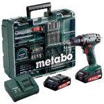 Perceuse visseuse Metabo BS18LI SET 18V 2.0 Ah 2 batteries + coffret 65 accessoires